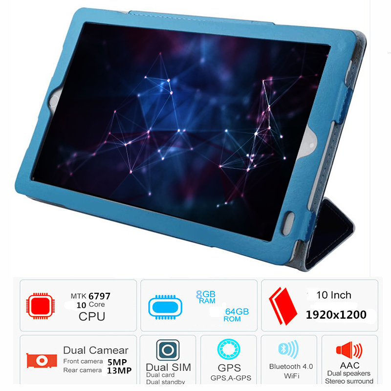 Google Certification 10.1 Inch 64GB ROM 8GB Ram 10 Core Android 9.0 Tablets 4G LTE Phone IPS Wifi Bluetooth GPS Kids Tablet Pc