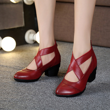 GKTINOO 2021 Vintage Style Cross Straps Handmade Women's Shoes Pumps Genuine Leather High Heels Pointed Toe Shoes