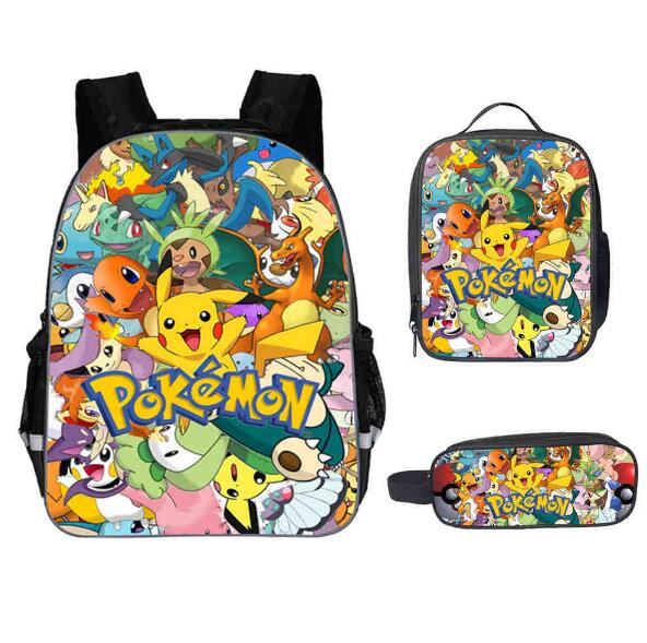 New Pokemon Go School Bag For Teenager Boys Girls Kids Personized Schoolbag 3pcs Sets Supplier Children Hot Game Backpack