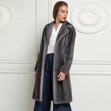 Dark Grey Real Mink Fur Coat Turn-down Collar Luxury Woman Winter Fur Overcoats High Quality Genuine Full Pelt Mink Fur Coats