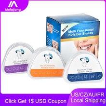 Três estágios dentes retentor dente invisível straightenin conjunto ortodôntico silicone aparelho dental boca guarda chaves bandeja de dente