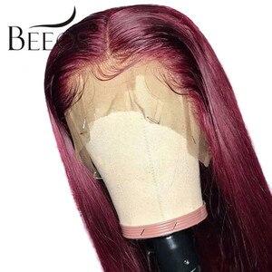 Image 3 - Bordo 99J 13*6 derin kısmı dantel ön İnsan saç peruk bebek saç ile düz ön koparıp Hairline peruk brezilyalı Remy peruk