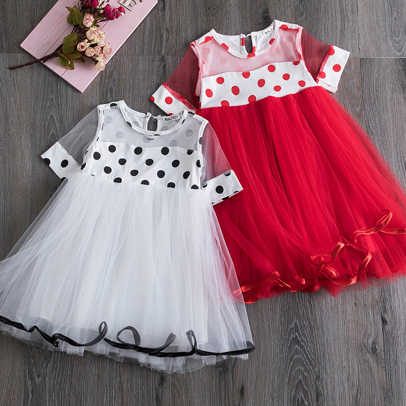 Fashion Short Sleeves Mesh Tutu Dress For Girls Polka Dot Dresses Kids Clothing Casual Children's Holiday Clothes Birthday Dress