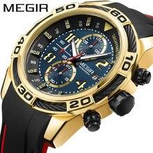 Megir data chronograph men assista topo de luxo marca relógio militar do esporte do exército masculino pulseira de borracha quartzo relógios dos homens caixa 2045