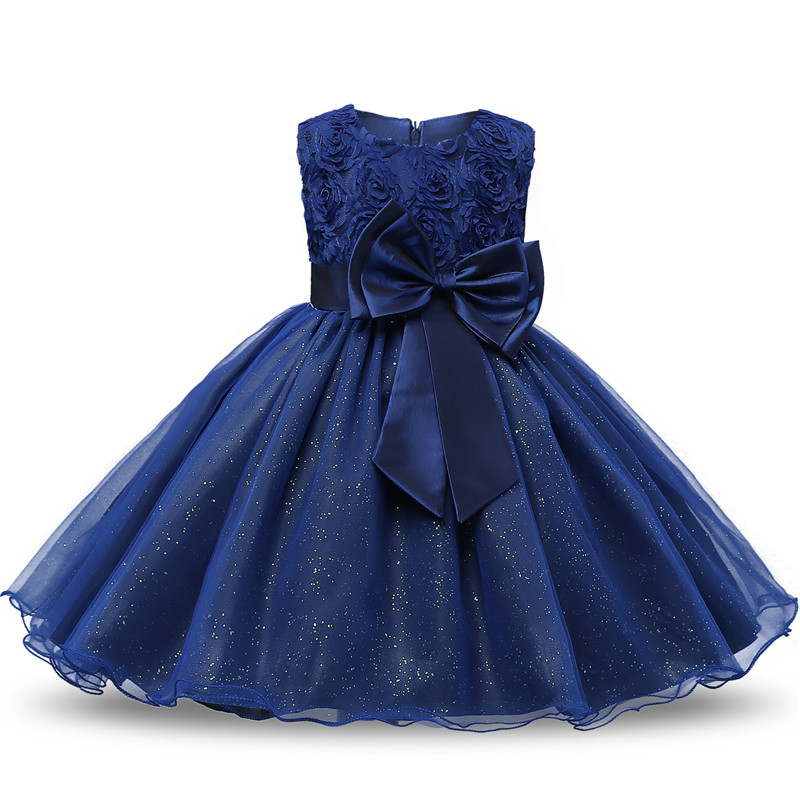 Summer Flower Bow Girl Dress Wedding Birthday Party Kids Dress For Girls Tutu Embroidery Princess Formal Dress Baby Girl Clothes 3