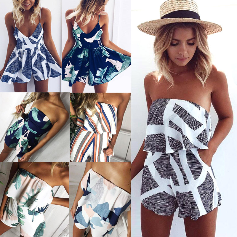 2020 Spring And Summer Fashion Sling V-neck Ruffled Stripe Printed Loose Jumpsuit Casual Street Hipster Printed Jumpsuit