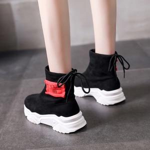 Image 3 - SWYIVY צאן פלטפורמת מגפי גבירותיי נעלי טריז אישה 2019 חדש סתיו מקרית קרסול מגפי נעלי נשים להחליק על נעליים שחורות