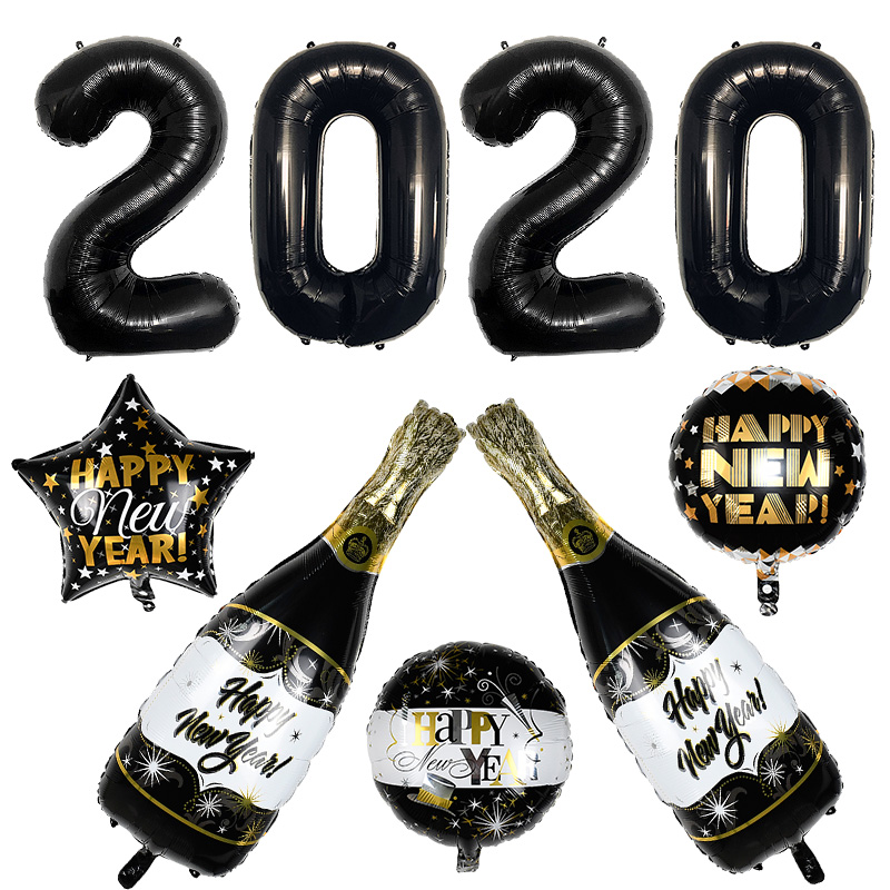 1set 2020 Happy New Year Inflatable Helium Balloon Birthday Party Decoration Kids Foil Balloons Wedding Christmas Supplies
