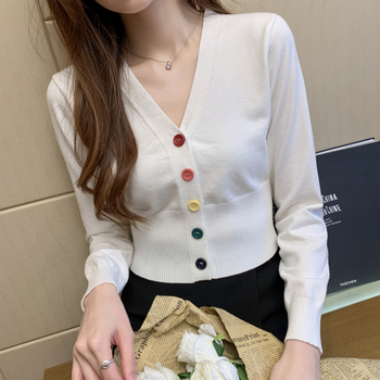 Colorful Buttons Knitted Sweater Cardigan Women Spring Autumn V-Neck Knitted Female Cardigan Crop Tops High Waist Sweater Shirts xnwmnz za classic cozy pompon twist knitted cardigan women buttons v neck casual female outwear fashion autumn ladies sweater