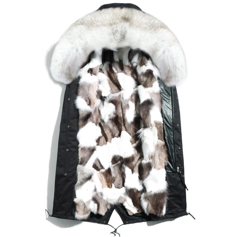 2020 New Real Fur Coat Men Parka Winter Warm Fox Fur Collar Liner Long Jacket Men's Fur Coats Parkas Hombre 4765 KJ2974