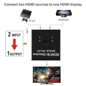 Image 5 - 1 divisor de interruptor HDMI 2 puertos bidireccional 4K HDMI Switcher soporta Ultra HD 4K 1080P 3D HDR HDCP para PS4 Xbox HDTV