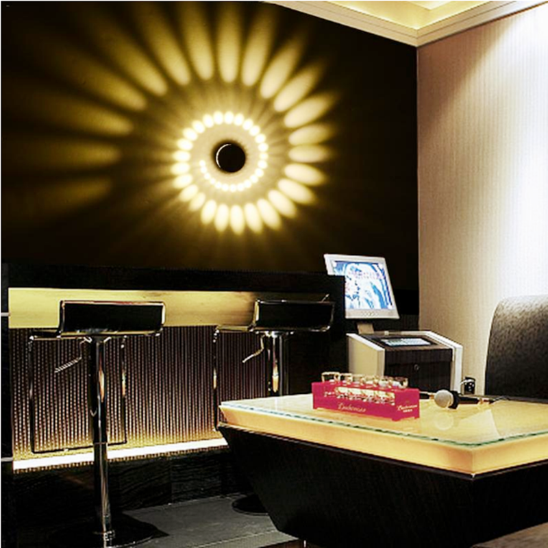 Hot Sale 3W RGB Spiral Hole LED Wall Light Effect Colorful Wand ceiling lamp TV background Party Bar Lobby KTV Aisle Porch Home in LED Night Lights from Lights Lighting