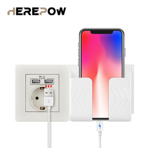 Herepow 2020 Wall Power White phone socket Grounded 16A EU Standard Electrical Outlet With 2100mA Dual USB Charger Port
