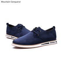 Mountain Conqueror Men Casual Shoes Lace-Up Sude Leather Male Dress Comfortable Soft Flats Size 39-44