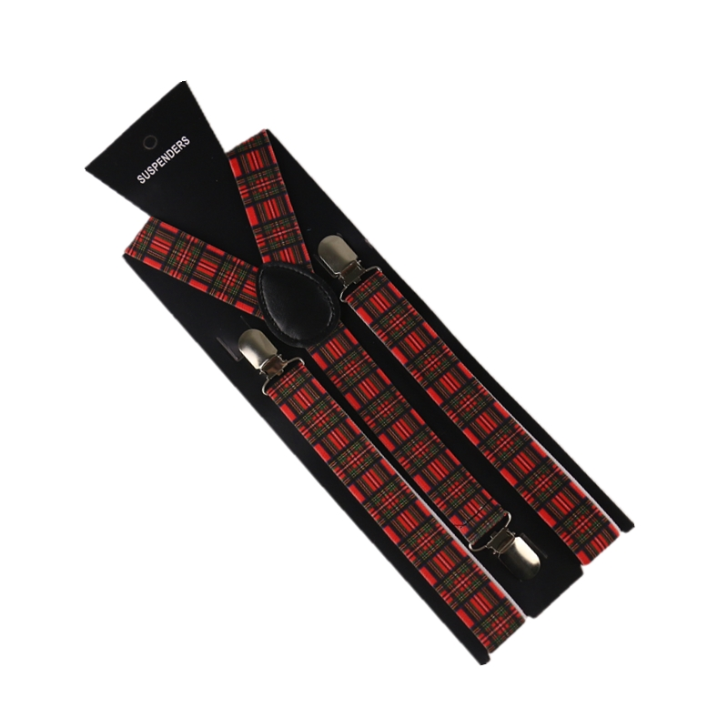 2019 New Fashion Red Plaids Men Womens Adjustable Suspenders  Clips On Y Back  Elastic Braces
