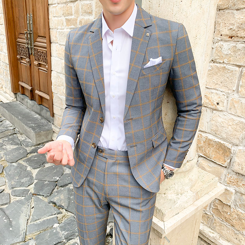 High Quality 2019 Costume Homme 2 Piece Formal Mens Suit Slim Fit Tuxedo Prom Suits For Men Plaid Groom Wedding Suits