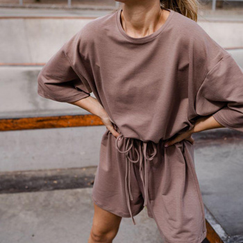 Casual Women Shorts Sets 2021 New Hot Women's Two-Piece Suit Solid Color Home Loose Summer Fashion Suit Shorts Sweatsuits Set 1