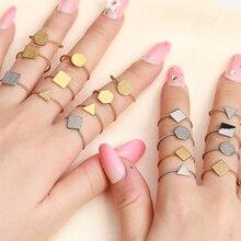 Геометрическое кольцо из нержавеющей стали для женщин, кольца, аксессуары, кольцо, четырехстороннее кольцо, ювелирное изделие, набор колец с буквами, начальное кольцо
