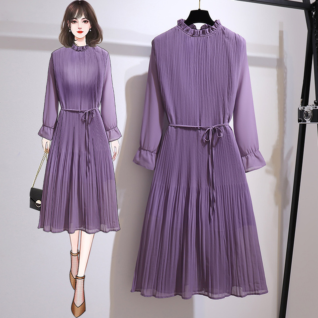 Women's Clothing 2021 Spring Autumn Fat Mm Fashionable Stylish Slim Pleated Chiffon Sexy Maxi Summer Party Long Dress Vintage 2