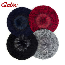 Geebro Women Double Layer Berets With Pom Pom Female Faux Fur Hairballs Hats Aut