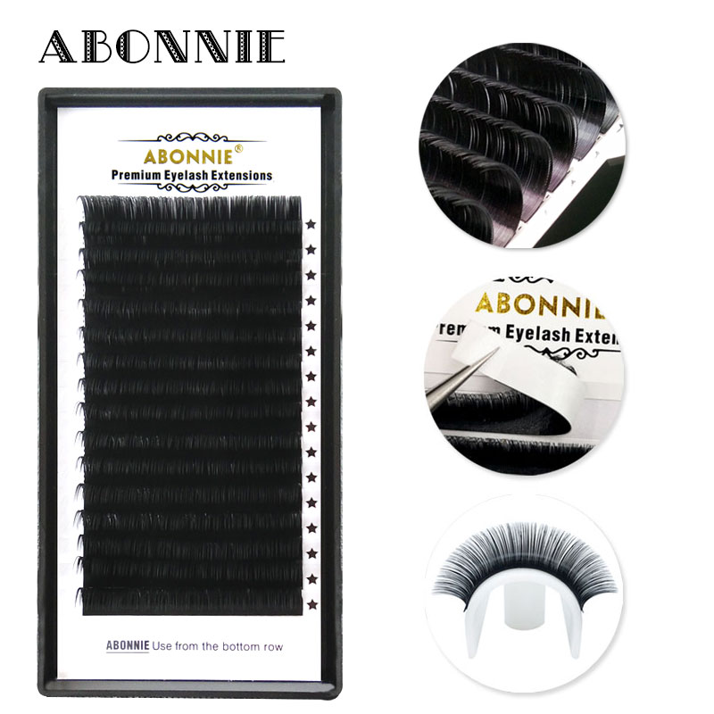 Abonnie 16Rows Faux Mink Individual Eyelash Lashes Soft Mink 8-17mm C/D Curl Eyelash Extension