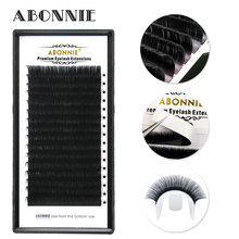 Abonnie 16Rows Faux mink individual eyelash lashes soft mink 8-17mm C/D curl eyelash extension genie shadow lashes individual lashes double curl and length faux mink fit for volume eyelash extension make up eye lashes
