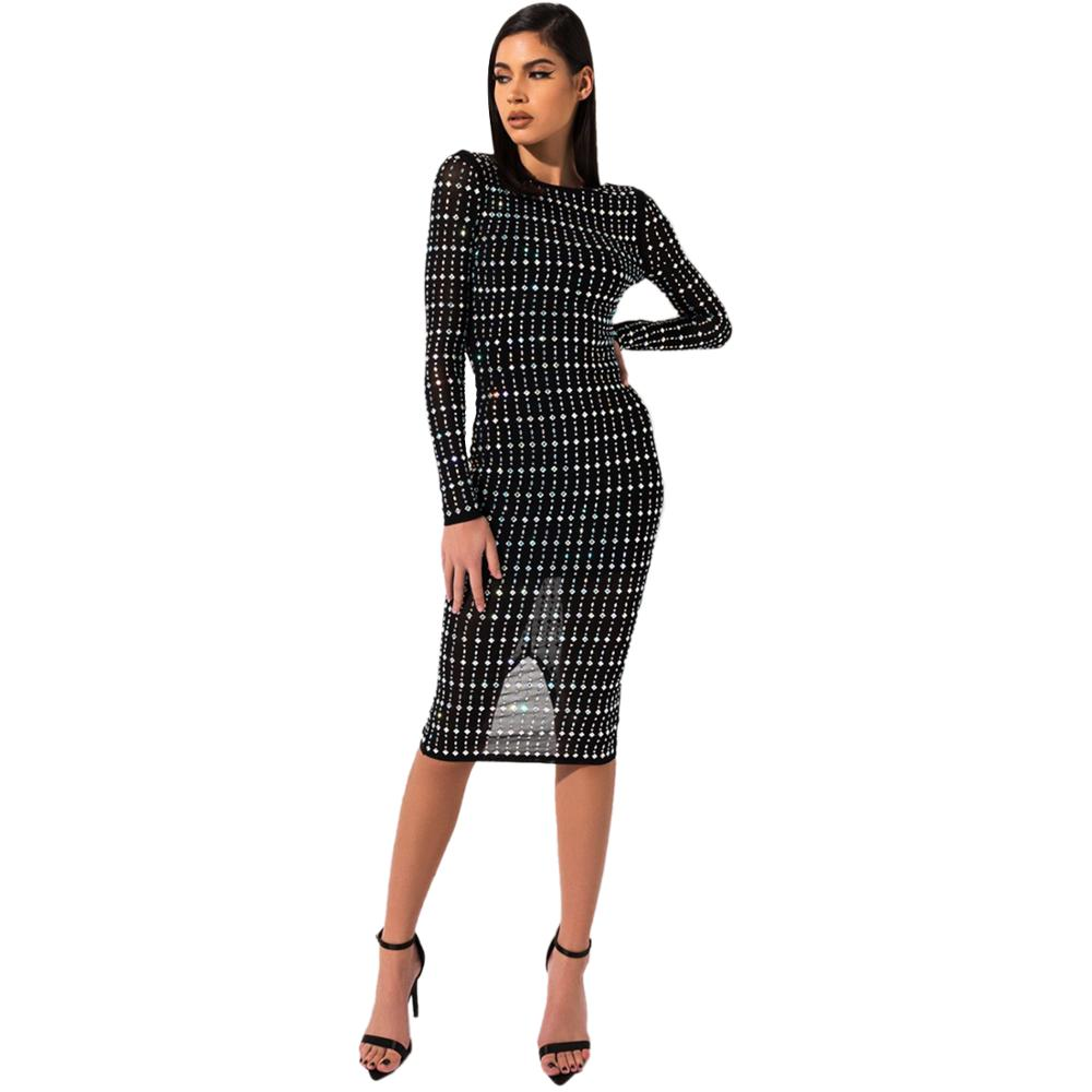 Zuctuo 2020 femmes printemps Sexy robe maille diamant robe à manches longues taille haute O cou pull dos nu boîte de nuit costume