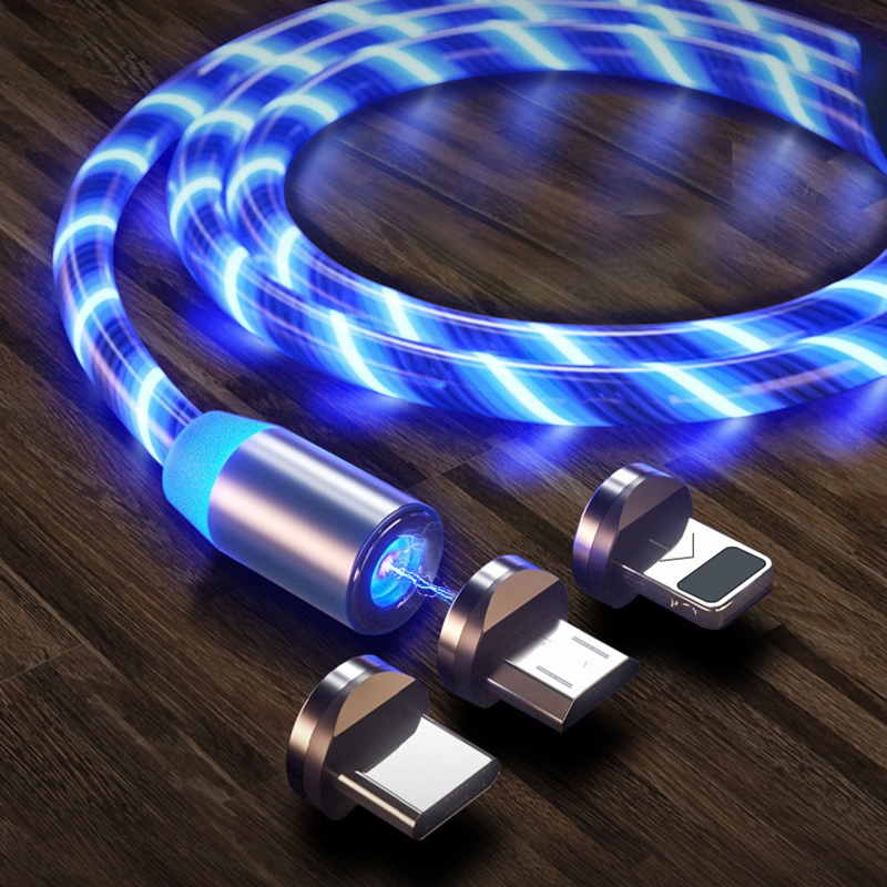 Magnetic LED Light Cable Fast Charging Magnet Micro USB Type C Cable LED Wire Cord Type-C Charger Fo