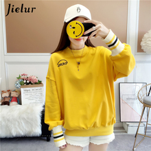 Jielur Letter Printed Tshirt Women Loose Long Sleeve Casual O-neck Tee Tops Female Yellow M-XXL Ropa Mujer 2019 New T-shirt