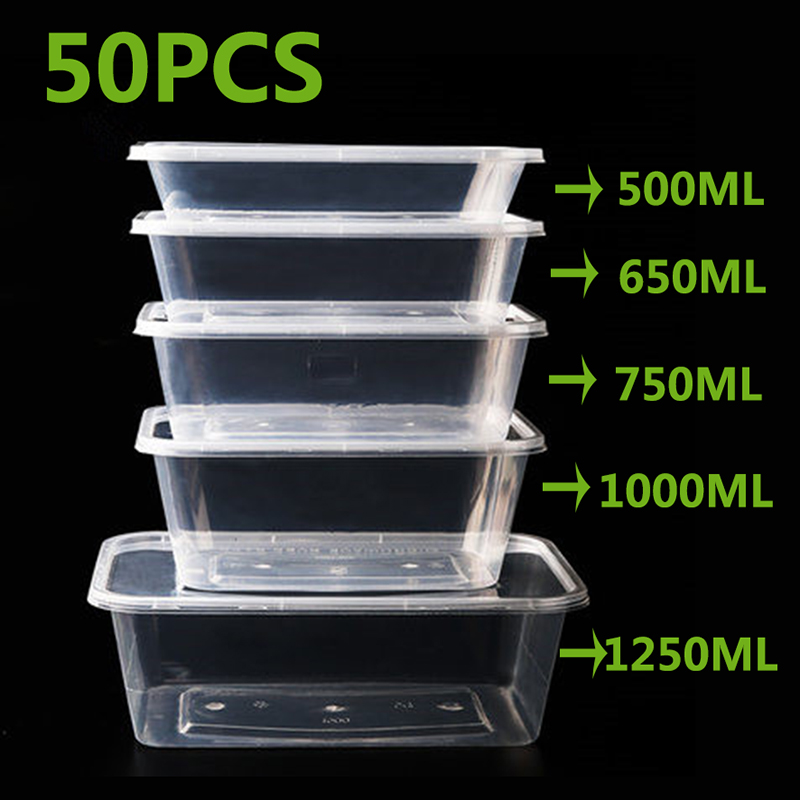 50Pcs/Pack 1500ML Fast Food Fruit Salad Crisper With Lid Thick Square Disposable Lunch Box Food Package Takeaway Plastic