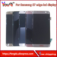 Youqi Super oled LCD For Samsung Galaxy S7 edge G935 G935F LCD Display+Touch Screen with Frame Galaxy S7 Edge LCD