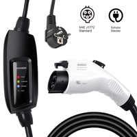 J1772 EVSE Tipo 1 5m 6m cable de entrada ev enchufe blanco Duosida Nivel 2 cargador 16A schuko para Carga de coche eléctrico