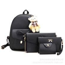 4pcs/Set Women's Leather Backpack School Backpack for Girls Shoulder Bag Fashion Travel Female Backpack Large Capacity Women Bag все цены