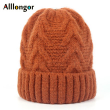 New 2019 Winter knitted hat For Women Beanie Rabbit Wool Warm Skullies gorros mujer invierno Black slouchy Cap