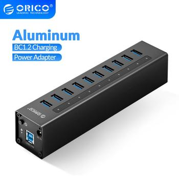 ORICO Aluminum 10 Port USB 3.0 HUB With 12V Power Adapter Support BC1.2 Charging USB Splitter For Macbook PC Desktop Accessories