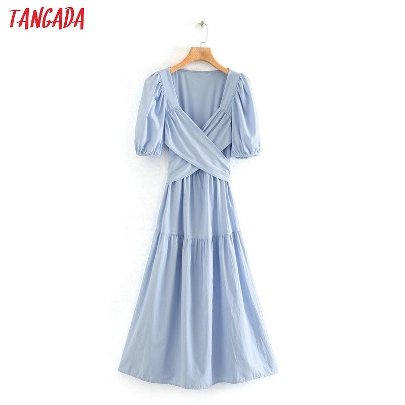 Tangada Fashion Women Blue Pleated Cross Summer Dress 2020 New Arrival Short Sleeve Ladies Midi Dress Vestidos 2W114