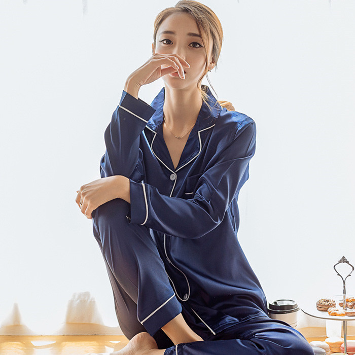 Korean-style Viscose Pajamas Female Spring And Autumn Long Sleeve Sexy Silk Thin Set Imitated Silk Fabric Cute Home Wear