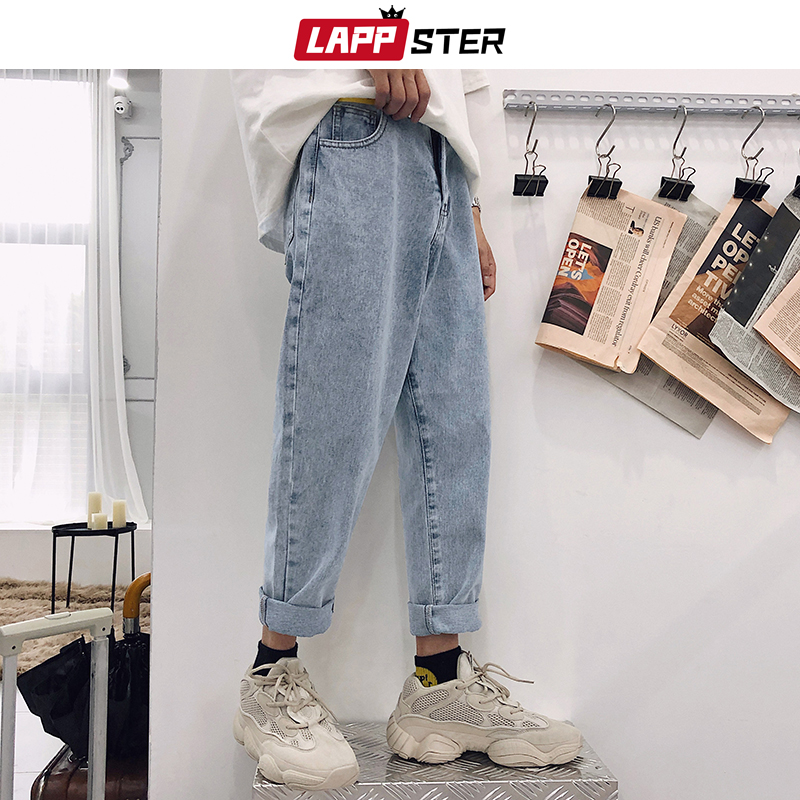 LAPPSTER Blue Skinny Jeans Men 2020 Harem Pants Mens Japanese Streetwear Hip Hop Denim Pants Male Korean Fashions Loose Pants