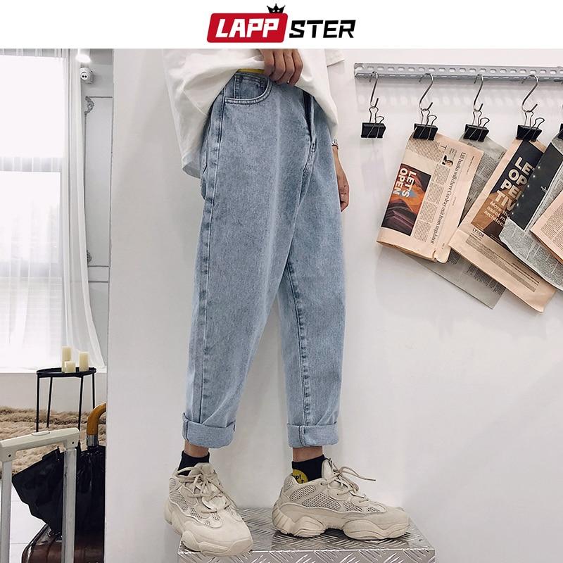 LAPPSTER Blue Skinny Jeans Men 2020 Harem Pants Mens Japanese Streetwear Hip Hop Denim Pants Male Korean Fashions Loose Pants