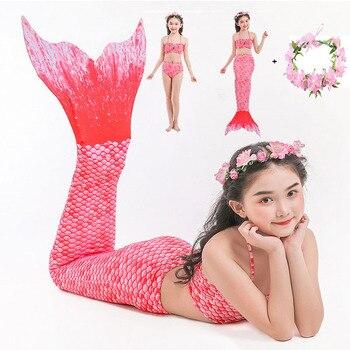 בנות בת ים זנבות שחייה שמלות קוספליי תלבושות חוף בגדי ילדים קטנים בת ים בגד ים לילדים Swimmable תחפושות