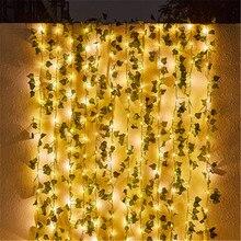 LED New Year's Solar Battery Plant Light Leaf Garland Light Christmas Wedding Party Art Decoration Fairy Tale String Lights