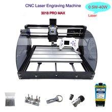 CNC 3018 Pro Max Laser Machine de Gravure 0.5W-40W Laser 300W Broche Bois Routeur GRBL Er11 3 Axes Fraisage Gravure Laser Machi