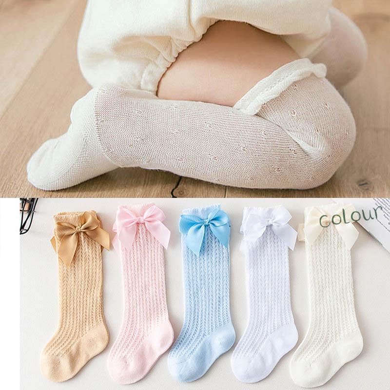 Fashion Summer Mesh Baby Girl Socks  Knee High Bows Princess Socks Winter Baby Socks Long Tube Vertical Striped Socks