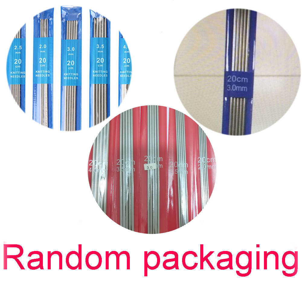 5Pcs/set 20cm Straight Knitting Needles Stainless Steel Crochet Hook DIY Sweater Weave Knitting Tools Size 2-4mm