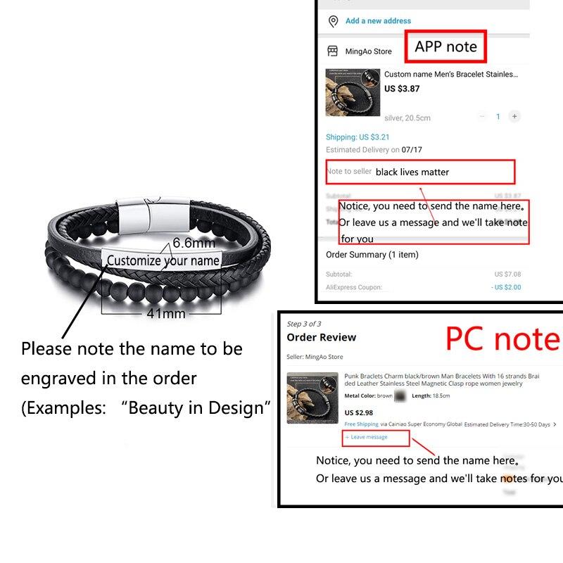 Bracelet personnalisé avec nom noir à perles pour hommes, Bracelet en pierre naturelle, fermoir magnétique, en acier inoxydable 3
