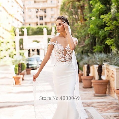 Ashley Carol Sexy V-neckline Beading Soft Satin Mermaid Wedding Dress 2019 Vintage Backless Bride Dress Romantic Wedding Gowns Karachi
