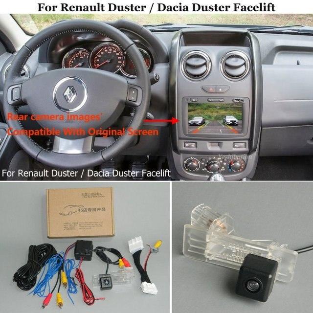 รถด้านหลังดูกล้องสำรองย้อนกลับสำหรับ Renault Duster / Dacia Duster Facelift 2014 ~ 2017   RCA และต้นฉบับ screen Compatible