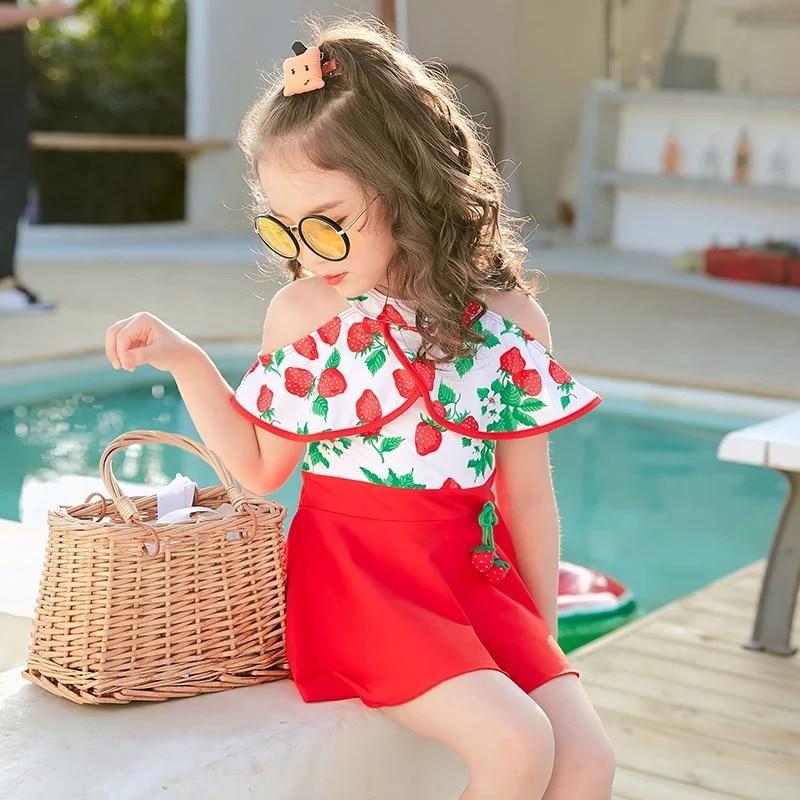 Fashion Dress-CHILDREN'S Swimwear Girls Children New Style Strawberry Infants Baby Hot Springs Swimwear