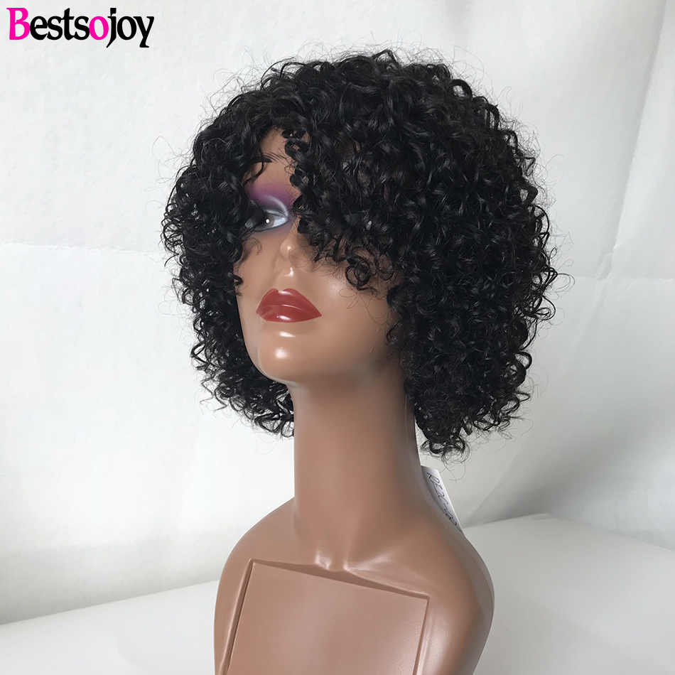 Bestsojoy Pixie Cut Wig Short Bob Wig Curly Human Hair Wig Remy Cheap Bouncy Curl Human Hair Wigs For Black Women