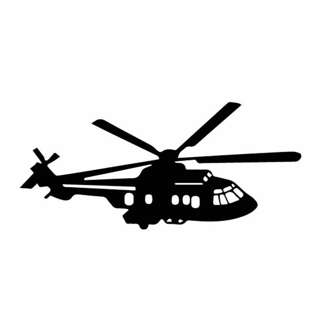 YJZT 15.6CM*7CM Delicate Aircraft Helicopter Vinyl Decal Dazzling Decor Car Sticker Good Black/Silver C27-1136